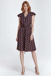 Brown Birds Pattern Flared Midi Dress
