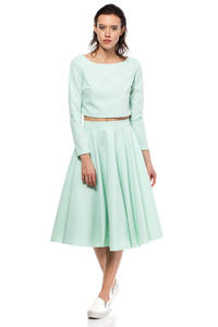 Mint Cropped Blouse with Bateau Neckline and Side Zipper