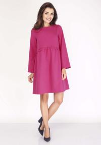 Pink Flared Dress with Litlle Waist Frill