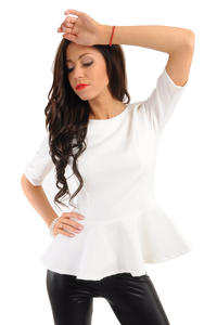 Crew Neck Seamed Frill Hem Ecru Top