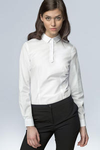White Work Shirt for Women with Decorative Button Down Seam