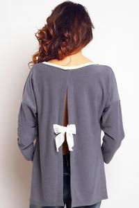 Grey Long Sleeved Top with Bow at The Back