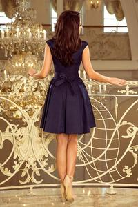 Dark Blue Evening Dress with Lace