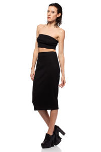 Black Midi Pencil Skirt with Decorative Back Zipper Fastening