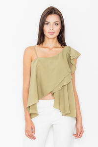 Olive Green Asymetrical One Shoulders Strap Dress with a Frill