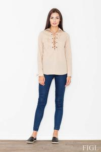 Beige Lace-up Front Shirt