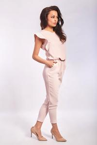 Pink Romantic Tapered Legs Jumpsuit with Frills