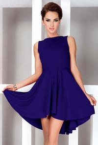 Blue Pleated Asymetrical Coctail Dress