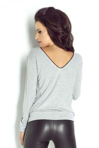 Grey Simple Blouse with Black Piping