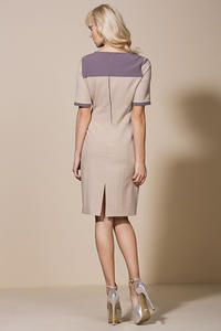 Beige Seam Shift Dress with Back Slit