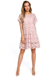 Pink Airy Lace Dress with a Mini Sleeve
