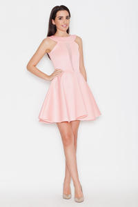 Pink Flared Evening Transparent Front Panel Dress