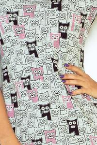 Grey&Pink Kittens Pattern Mini Dress
