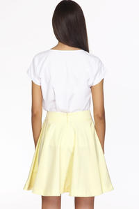 Yellow Delicate Pleats Flared Skirt