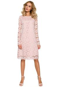 Pink Formal Trapezoid Dress With Lace