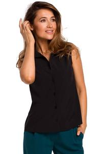 Black Sleeveless Shirt Blouse