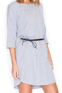 Grey Casual Comfy 3/4 Sleeves Mini Dress with Belt