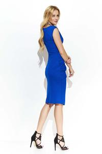 Cornflower Fitted Dress with Decorative Scratching