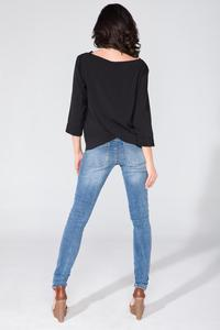 Black Wrap Back 3/4 Sleeves Blouse
