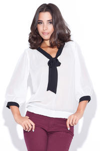 Elastic Waist Pussy Bow Neckline White Blouse