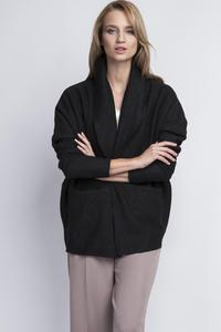 Black Elegant Oversized Office Style Cardigan