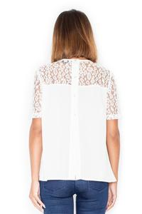 Ecru Romantic Lace Sleeves Back Closure Blouse