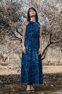 Maxi Dress Leopard Print Sleeveless (cornflower)
