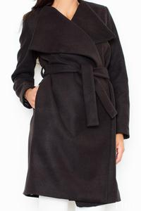 Black Elegant Big Collar Self Tie Belt Coat