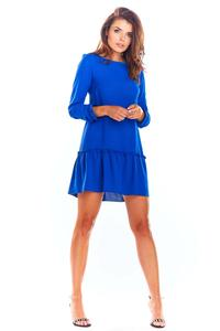 Blue Trapezoid Dress with a Sewn Flounce