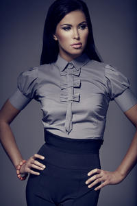 Grey Collared Blouse with Bow Details and Pleated Cap Sleeves