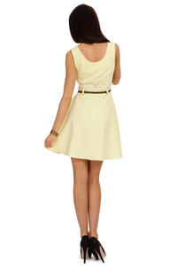 Yellow Round Neck Sleeveless Flippy Dress with Belt Loops