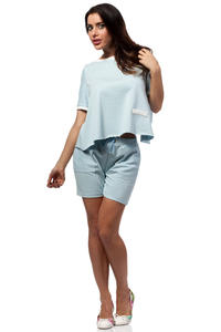 Light Blue Cropped Blouse with Crossover Back