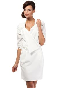 Ecru Elegant Office Style Unique Collar Dress