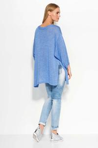 Blue Oversized 3/4 Sleeves Sweater