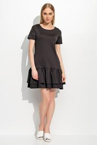 Black Short Sleeves Double Frill Mini Dress