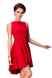 Red Pleated Asymetrical Coctail Dress
