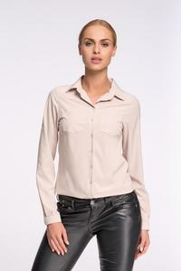 Beige Classic Shirt with Double Pockets
