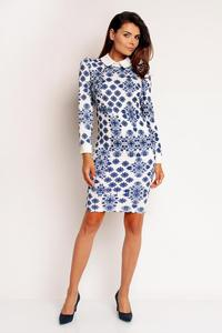 Blue-White Patterned Bodycon Fit Shirts Style Collar&Cuffs Dress