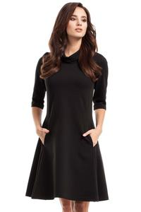 Black Flared Dress with Tourtleneck