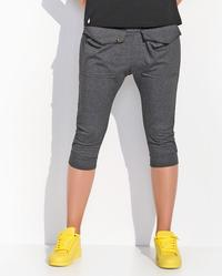 Dark Grey Knee Length Pront Pockets Training Pants