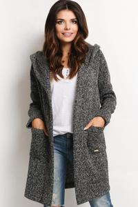 Dark Grey Long Hodded Cardigan with Pockets
