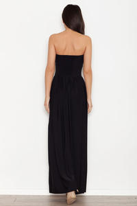 Black Bandeau Maxi Dress with Side Slit