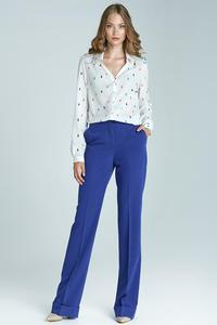 Blue High Waist Design Elegant Long Trousers