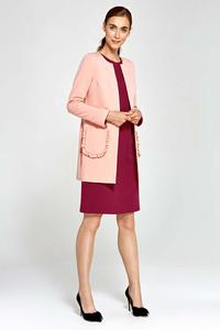 Pink Long Ladies Blazer with Frills around Pockets