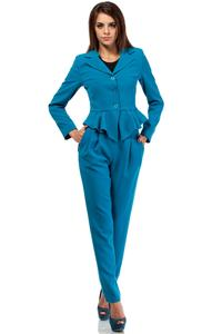 Sky Blue Short Elegant Peplum Ladies Blazer