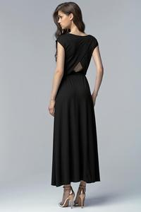 Black Stylish Maxi Long Dress with Long Slit and Cut Out Back