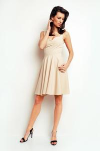 Beige Heart Shape Neckline Coctail Dress
