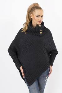 Dark Grey Loose Asymetrical Tourtleneck Sweater