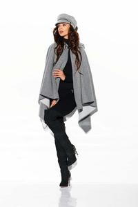 Light gray Asymmetrical Poncho with Hood