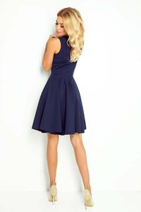 Nevy Blue Elegant Dress Flared on Wide Straps